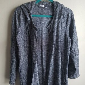 Pure Jill Heathered Open Front Hooded Cardigan